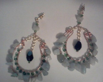 Green Beauty-Tourmaline Stone Dangle Earrings