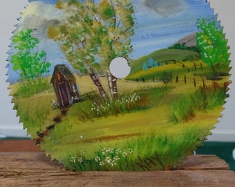 Hand Painted Landscape on Sawblade