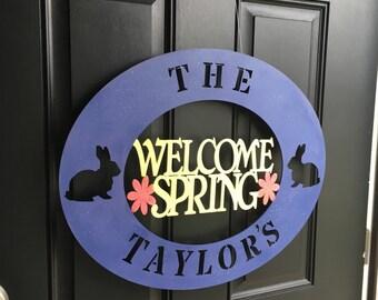 Welcome spring bunny flowers wood door or wall sign