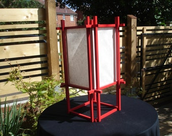 Painted shoji-style table lamp