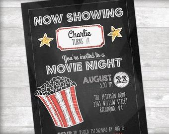 Movie Night Birthday Party Invitation Printable