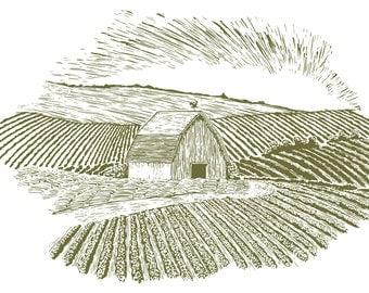 Woodcut Rural Farm Setting