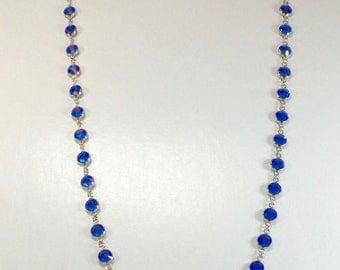 "Raindrops Necklace - Sapphire/Rhodium 36"" Swarovski crystal"