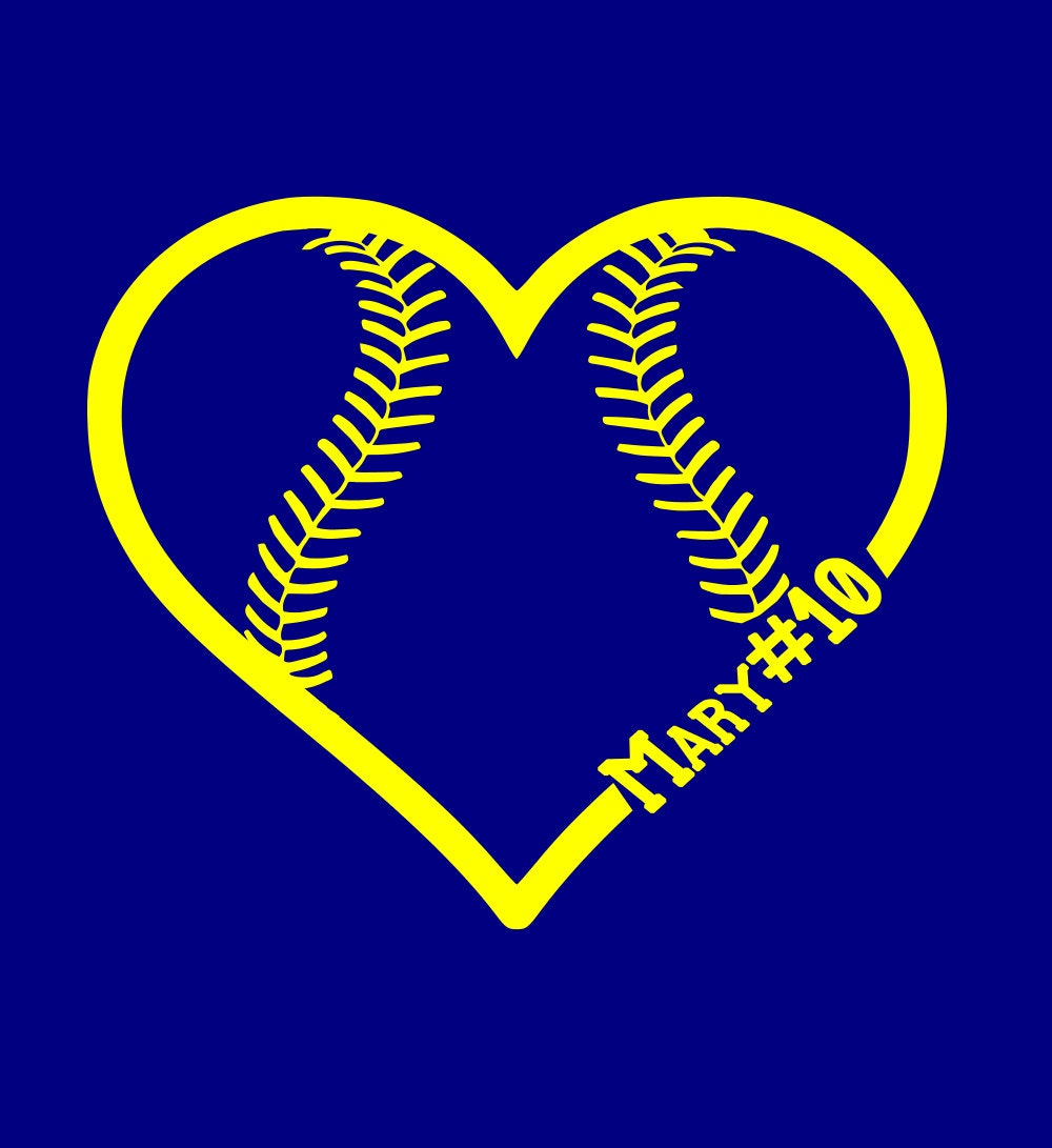 Softball Name Heart Iron On Decal Custom Personalize For