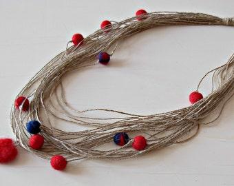 Linen necklace Beaded felt necklace Eco natural necklace Linen jewelry Bohemian jewelry  Boho necklace Linen  Cord necklace Handmade jewelry
