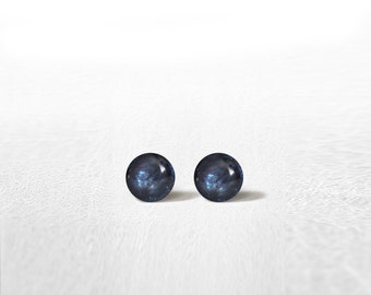 Christmas gift Waterproof Stud Earrings Mini Metal Blue Shimmery 4 mm Stainless Steel Gold Plated Posts High Quality Epoxy Resin Moon Line