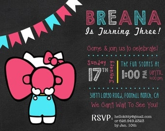 Hello Kitty Birthday Invitation, 3rd Birthday Invitation, Hello Kitty Party
