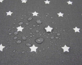 cotton fabric coated waterproof stars dark grey 0,9cm from France