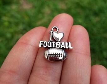 10 Pieces I love Football Charm, I love Football Pendant, Football Fan Charm B27813H