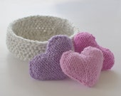 Crocheted basket and decorative knitted hearts, crocheted basket, knitted hearts, bowl filler, pink hearts, storage bin