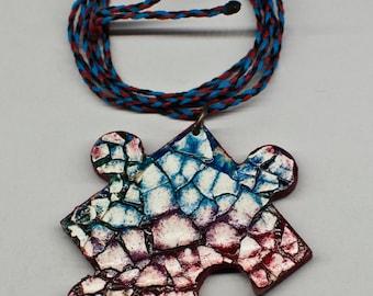 Eggshell mosaic puzzle macrame necklace