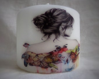 hand printed sketched woman with butterflies candle