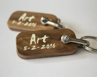 Wooden keychain personalized engraved