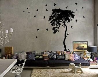 kik10 Wall Decal Sticker beautiful bird tree living room bedroom