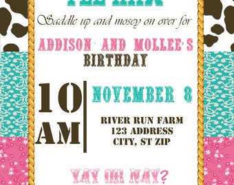 Cow Girl Birthday Invitations
