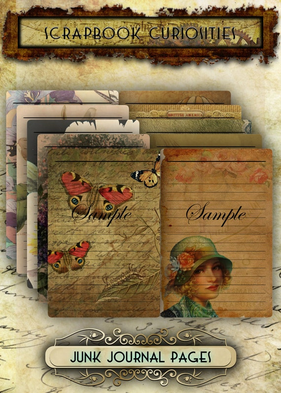 printable vintage junk journal kit pages collage sheets for