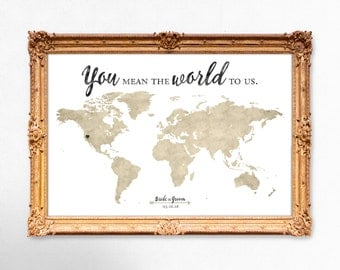 World map wedding guest book - You mean the world to us - 20x30 - 24x36 - 18x24 PRINTABLE