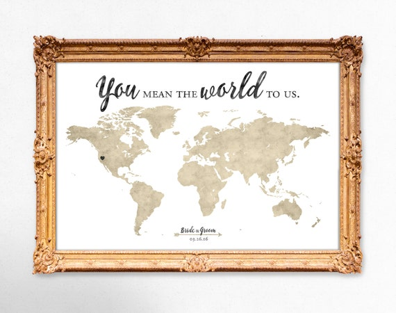 World map wedding guest book you mean the world to us world map wedding guest book you mean the world to us 20x30 24x36 18x24 printable gumiabroncs Choice Image