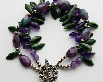 Purple and Forest Green Faceted Czech Bead Multi Strand Bracelet