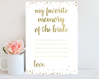Favorite Memory of the Bride, Gold, Bridal Shower Printable Card, Wedding Shower, Gold Confetti, Bridal Shower Games, Instant Download BRSG1