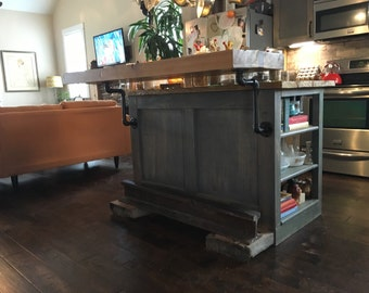 Kitchen island with floating butcher block top