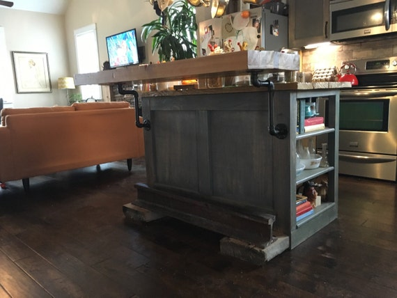 Free Standing Kitchen Island With Butcher Block Top : Kitchen island with floating butcher block top