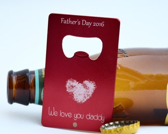 Fathers day gift / bottle opener / unique fathers day gift / gift for dad / kids fingerprint /gift from kids / personalized fathers day gift