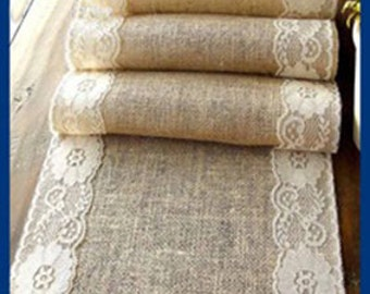 Burlap Runner, Rustic wedding runner, Burlap and Lace Runner, Burlap Overlay, Lace Burlap Runner