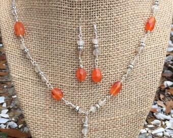 Carnelian & Quartz Necklace