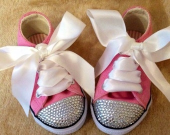 Toddler blinged out shoes, blinged converse style, party shoes, little girls blinged shoes, flower girl shoes,  blinged shoes, bing trainer