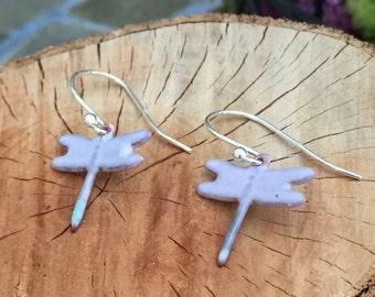 Dainty Pink/lavender Dragonfly Enameled Dangle Earrings