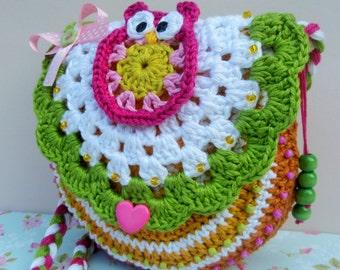 CROCHET PATTERN - Crochet purse pattern, crochet bag pattern - Owl in love - crochet pattern diy, PDF