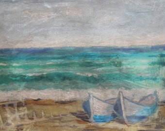Vintage oil painting impressionist seascape fishing boats