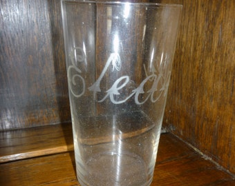 "SMALL tumbler / glass. Etched with ""Eleanor"""