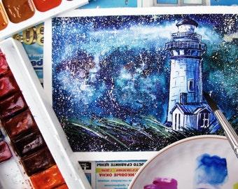 Lighthouse of stars - original watercolor illustration, original painting