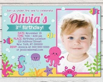 Under the Sea Girl Printable Birthday Photo Invitation - DIY - PDF & JPG Files only