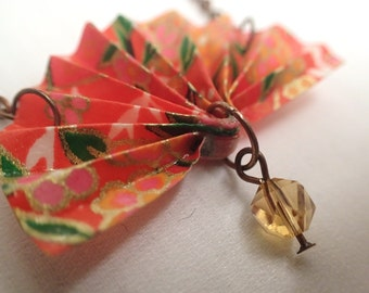 Origami Fan Necklace - Red