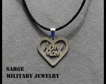 Army Mom Heart Pendant, Sterling Silver Army Mom Necklace, Army Heart Necklace,Silver Army Pendant, Mothers Day Jewelry, Silver Army Jewelry