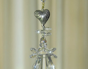 Silver Heart Crystal Angel Sun Catcher memorial angel, angel ornament,crystal car charm, angel car charm for rear view mirror, hanging angel