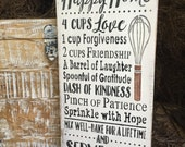"""Rustic Wood Sign """"Recipe For A Happy Home. . ."""" Kitchen Decor"""
