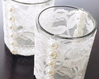 Vintage Lace and Pearl Ivory Tea Light Holder (Set of 12)