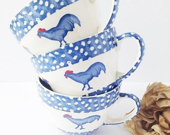 SALE Set of 3 Rooster Mugs / Set of Rooster Cups / Blue Rooster Mugs / Blue Kitchen / Blue Farmhouse / Rooster Mug / Rooster Cup / Roosters