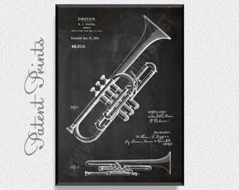 Cornet 1915 Patent Print, Music Poster, Music Art, Music Art Print, Music Wall Art, Music Wall Decor, Music Decorations