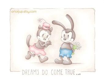 Oswald the lucky rabbit, art print