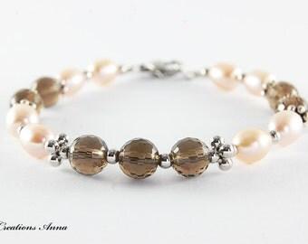 Semiprecious Stone Bracelet, Freshwater Pearl Bracelet, Smoky Quartz, Beaded Bracelet, Semiprecious stone jewelry,