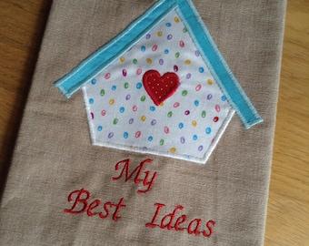 Appliquéd Birdbox / Birdhouse A5 Linen Textile Lined Book Cover