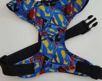 Handmade superman dog harness