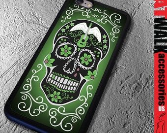 Apple iPhone 6/6S Rubber Case. Day of the Dead iPhone 5S Case. Sugar Skull Phone case. Dia de los Muertos Phone Cover. Phone Accessory.