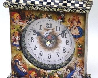Alice in Wonderland Clock. Alice Clock. Unique Clock. Fairy Tale. Alice. Clock.  Alice in Wonderland Decor. Wonderland Clock. Carriage Clock