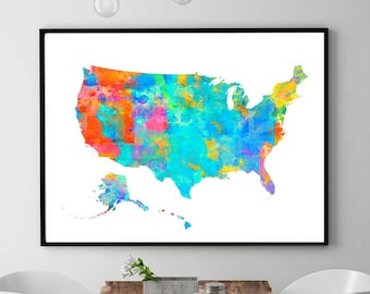 US Map Print, US Map Printable, US Map Watercolor Print, Nursery Map Decor, Home Decorations Map, United States Map